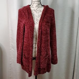 NWOT Red Chenille Long Open Front Hood Cardigan LG